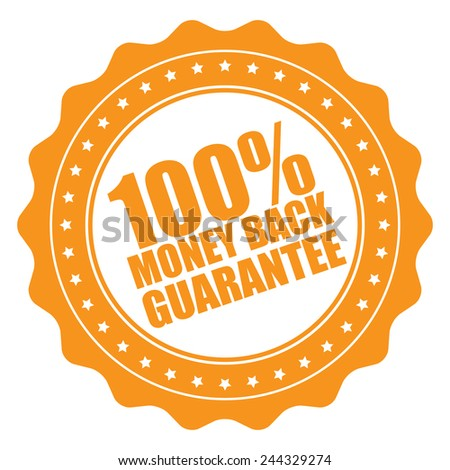 orange 100% money back guarantee icon, tag, label, badge, sign, sticker isolated on white  - stock photo