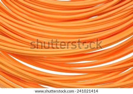 Orange multimode fiber optical cables - stock photo