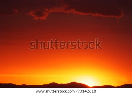 orange mystic sunset in the russian primorye mountains - stock photo