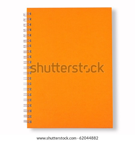 orange note book isolate on white background - stock photo