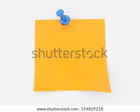 Orange note paper with push pin on white background - stock photo