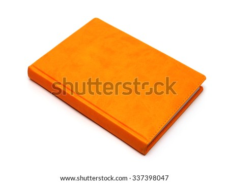 orange notebook isolated on a white background