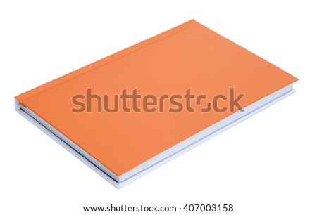 Orange notebook isolated on white background - stock photo