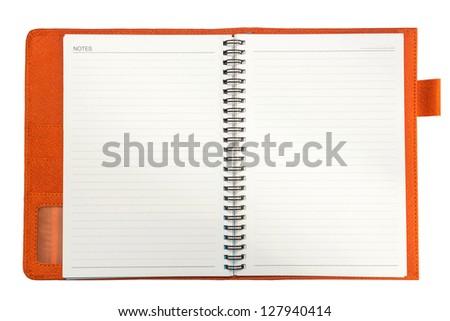 Orange notebook on a white background - stock photo