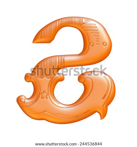 Orange numbers 2 on a white background  - stock photo