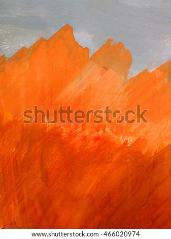 Orange oil painting on canvas