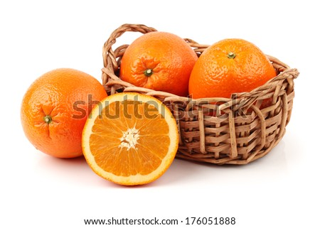 Orange on the white background