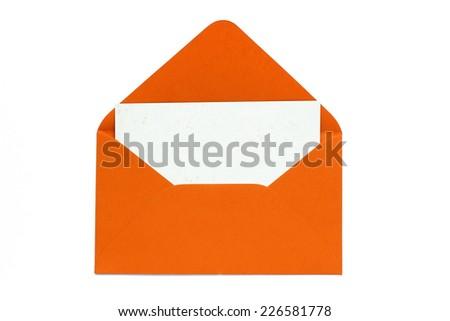 orange open envelope with blank card  - stock photo