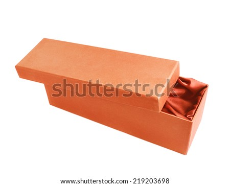 Orange opened tall gift box with the velvet cloth inside, isolated over the white background - stock photo