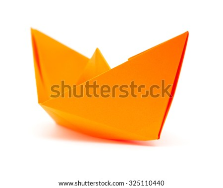 orange origami paper boat isolated on white