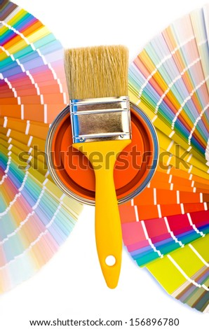 Different Shades Of Orange Paint paint cans brushes on stripes color stock photo 154460666