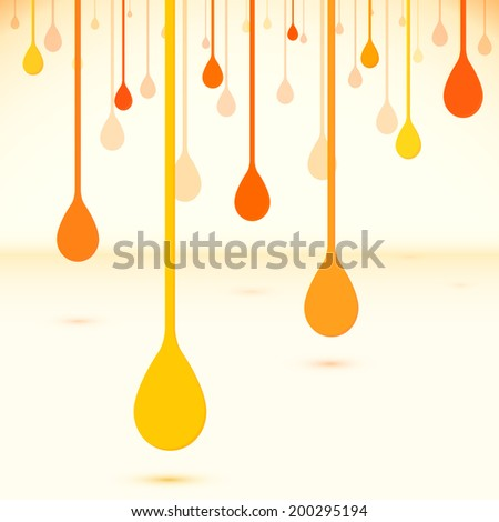 Orange paint drops in flat design style - stock photo
