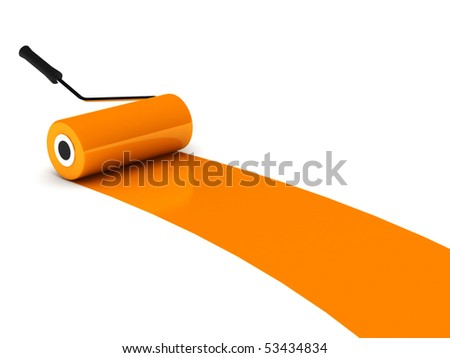 Orange paint roller isolated on white background. High quality 3d render. - stock photo
