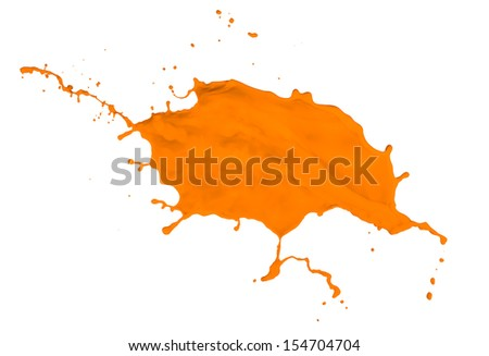 orange paint splash isolated on white background - stock photo