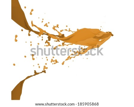Orange paint splashes and drops on white background