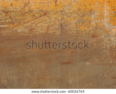 orange painted metal with rust and scratches - stock photo