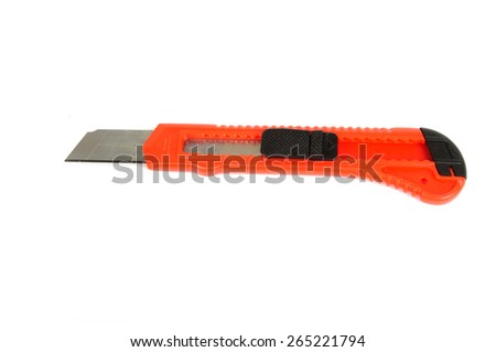 Orange paper cutter isolated on white background - stock photo