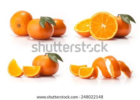 Orange peel and orange wedge on white background - stock photo