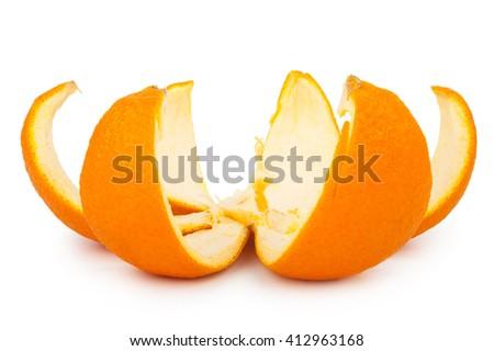 orange peel isolated on white background - stock photo