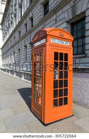orange phone booth in London