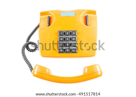 Orange phone with shadow on white background