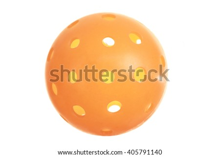 Orange Pickleballl ball on white background