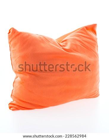 Orange pillow isolated on white background - stock photo