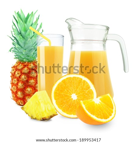 orange pineapple juice in a glass and jug on a white background