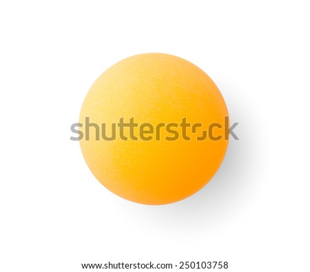 Orange pingpong ball , isolated on white , clipping path - stock photo