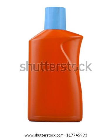 Orange plastic bottle isolated on a white background ( clipping path )