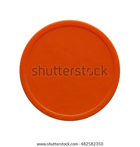 Orange plastic chip fiche token money used to buy food and drink during event or festival - isolated over white