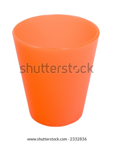 Orange plastic cup - Isolated on white background