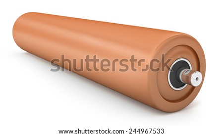 Orange plastic for drum conveyor isolated on white background