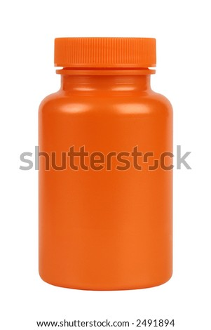 Orange plastic jar. Isolated on white. Clipping path included.