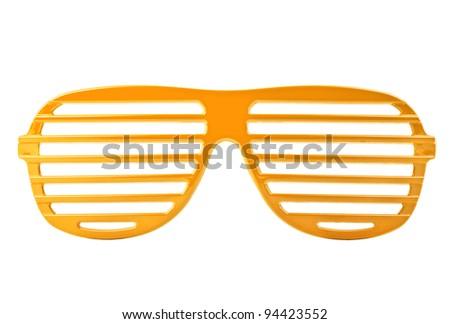 orange plastic shutter shades sunglasses isolated on white background - stock photo