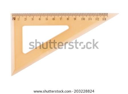 Orange plastic triangle centimeter ruler, isolated over the white background - stock photo