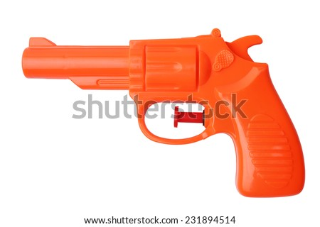 Orange plastic water pistol isolated on white background - stock photo