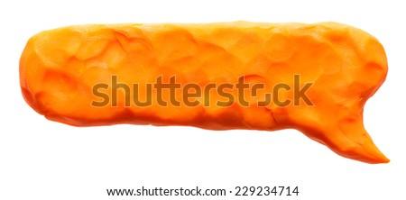 Orange plasticine banner isolated on white - stock photo