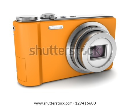 orange point and shoot photo camera isolated on white background