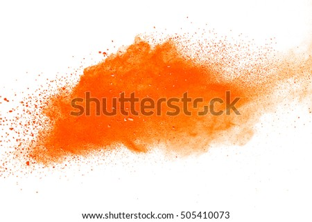 Orange powder explosion on white background. Colored cloud. Colorful dust explode. Paint Holi.