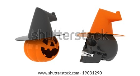 Orange pumpkin and black skull with hats