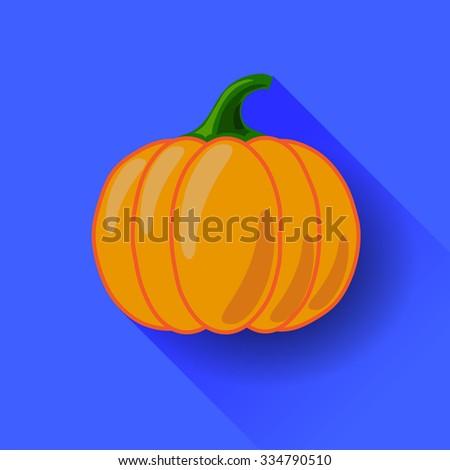 Orange Pumpkin Icon Isolated on Blue Background. Long Shadow. Symbol of Halloween - stock photo