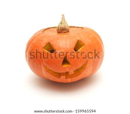orange pumpkin lantern isolated on white - stock photo