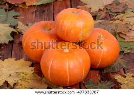 Orange pumpkins on a wooden table in maple leaves