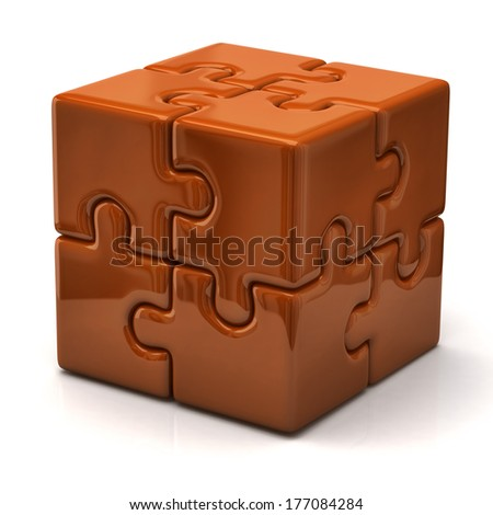 Orange puzzle cube - stock photo