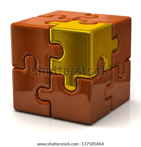 Orange puzzle cube with one golden piece - stock photo