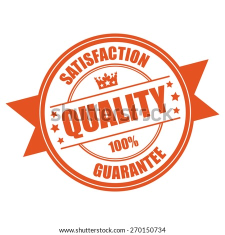 Orange Quality Satisfaction 100% Guarantee Ribbon, Badge, Banner, Sign, Tag, Label, Sticker or Icon Isolated on White Background - stock photo