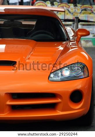 Orange Race Car - stock photo