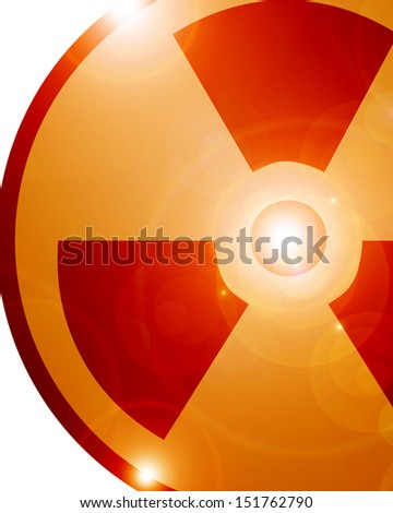 orange radioactive sign isolated on a solid white background - stock photo