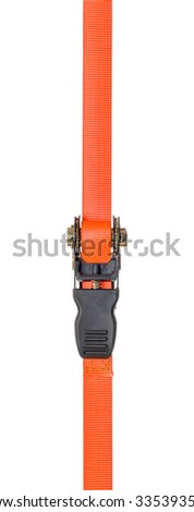Orange ratchet strap on a white background - stock photo